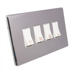 Eurolite Low Profile Concealed Fix Polished Chrome 4 Gang 20amp DP Engraved Appliance Switch with White Insert