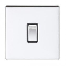 Eurolite Low Profile Concealed Fix Polished Chrome 1 Gang Intermediate Switch with Matching Rocker and Bl...