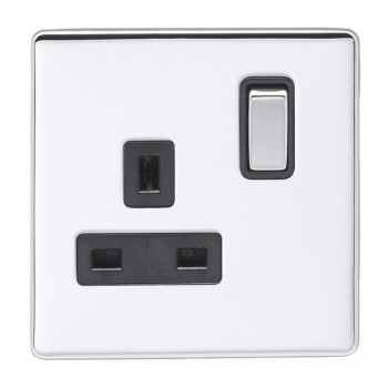 Eurolite Low Profile Concealed Fix Polished Chrome 1 Gang 13amp DP Switched Socket with Matching Rocker and Black Insert