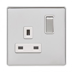 Eurolite Low Profile Concealed Fix Polished Chrome 1 Gang 13amp DP Switched Socket with Matching Rocker and White Insert