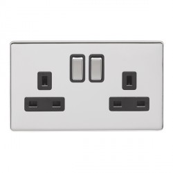 Eurolite Low Profile Concealed Fix Polished Chrome 2 Gang 13amp DP Switched Socket with Matching Rocker and Black Insert