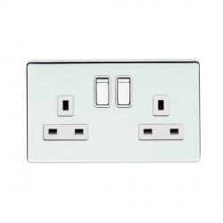 Eurolite Low Profile Concealed Fix Polished Chrome 2 Gang 13amp DP Switched Socket with Matching Rocker and White Insert