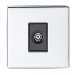 Eurolite Low Profile Concealed Fix Polished Chrome 1 Gang TV Outlet with Black Insert