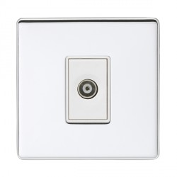 Eurolite Low Profile Concealed Fix Polished Chrome 1 Gang TV Outlet with White Insert