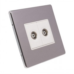 Eurolite Low Profile Concealed Fix Polished Chrome 2 Gang TV Outlet with White Insert