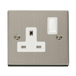 Click Deco Victorian Stainless Steel Single 13A Single Socket