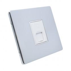 Eurolite Low Profile Concealed Fix Polished Chrome 1 Gang RJ45 Data Socket with White Insert