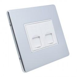 Eurolite Low Profile Concealed Fix Polished Chrome 2 Gang RJ45 Data Socket with White Insert