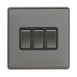 Eurolite Low Profile Concealed Fix Black Nickel 3 Gang 10amp 2way Switch with Matching Rocker and Black Insert
