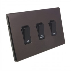 Eurolite Low Profile Concealed Fix Black Nickel 3 Gang 20amp DP Engraved Appliance Switch with Black Insert