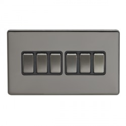 Eurolite Low Profile Concealed Fix Black Nickel 6 Gang 10amp 2way Switch with Matching Rocker and Black Insert