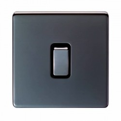 Eurolite Low Profile Concealed Fix Black Nickel 1 Gang Intermediate Switch with Matching Rocker and Black Insert