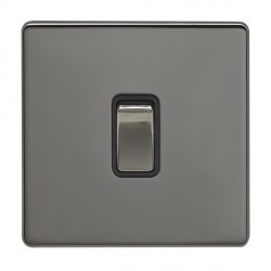 Eurolite Low Profile Concealed Fix Black Nickel 1 Gang 20amp DP Switch with Matching Rocker and Black Insert