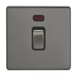 Eurolite Low Profile Concealed Fix Black Nickel 1 Gang 20amp DP Switch and Neon with Matching Rocker and Black Insert