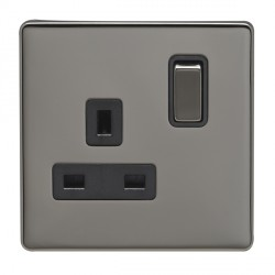 Eurolite Low Profile Concealed Fix Black Nickel 1 Gang 13amp DP Switched Socket with Matching Rocker and Black Insert