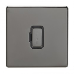 Eurolite Low Profile Concealed Fix Black Nickel 13amp Unswitched Fuse Spur with Matching Rocker and Black Insert