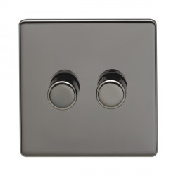 Eurolite Low Profile Concealed Fix Black Nickel 2 Gang 400w Dimmer Switch with Matching Knob