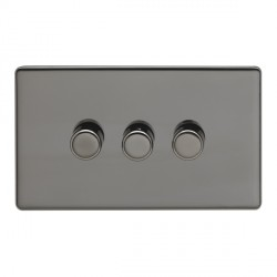Eurolite Low Profile Concealed Fix Black Nickel 3 Gang 400w Dimmer Switch with Matching Knob