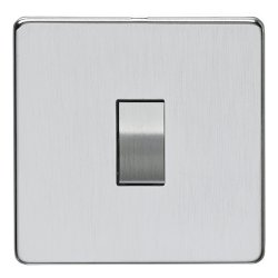 Eurolite Concealed Fix Flat Plate Satin Chrome 1 Gang 10amp 2way Switch with Matching Insert