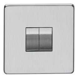 Eurolite Concealed Fix Flat Plate Satin Chrome 2 Gang 10amp 2way Switch with Matching Insert