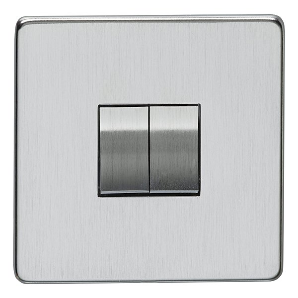 Eurolite Concealed Fix Flat Plate Satin Chrome 2 Gang 10amp 2way ...