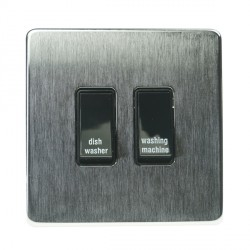 Eurolite Concealed Fix Flat Plate Satin Chrome 2 Gang 20amp DP Engraved Appliance Switch with Black Insert
