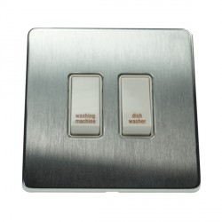 Eurolite Concealed Fix Flat Plate Satin Chrome 2 Gang 20amp DP Engraved Appliance Switch with White Insert