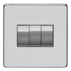 Eurolite Concealed Fix Flat Plate Satin Chrome 3 Gang 10amp 2way Switch with Matching Insert
