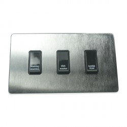 Eurolite Concealed Fix Flat Plate Satin Chrome 3 Gang 20amp DP Engraved Appliance Switch with Black Insert