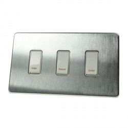 Eurolite Concealed Fix Flat Plate Satin Chrome 3 Gang 20amp DP Engraved Appliance Switch with White Insert