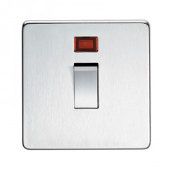 Eurolite Concealed Fix Flat Plate Satin Chrome 1 Gang 20amp DP Switch and Neon with Matching Insert