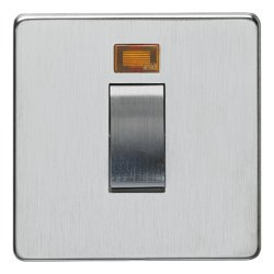 Eurolite Concealed Fix Flat Plate Satin Chrome 1 Gang 45amp DP Cooker Switch and Neon with Matching Insert