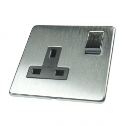 Eurolite Concealed Fix Flat Plate Satin Chrome 1 Gang 13amp DP Switched Socket with Matching Rocker and Black Insert