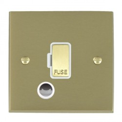 Hamilton Cheriton Victorian Satin Brass 1 Gang 13A Fuse + Cable Outlet with White Insert