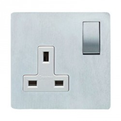 Eurolite Concealed Fix Flat Plate Satin Chrome 1 Gang 13amp DP Switched Socket with Matching Rocker and White Insert