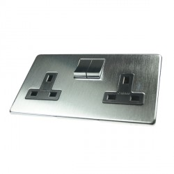 Eurolite Concealed Fix Flat Plate Satin Chrome 2 Gang 13amp DP Switched Socket with Matching Rocker and Black Insert