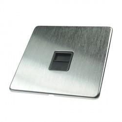 Eurolite Concealed Fix Flat Plate Satin Chrome 1 Gang Telephone Slave with Black Insert