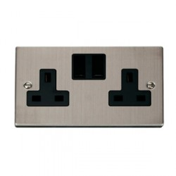 Click Deco Victorian Stainless Steel Double 13A Socket with Black Inserts