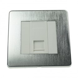 Eurolite Concealed Fix Flat Plate Satin Chrome 1 Gang Data Socket with White Insert