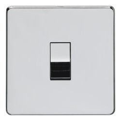 Eurolite Concealed Fix Flat Plate Polished Chrome 1 Gang 10amp 2way Switch with Matching Insert