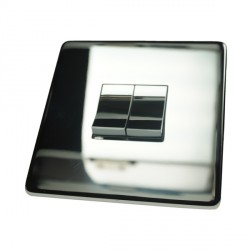 Eurolite Concealed Fix Flat Plate Polished Chrome 2 Gang 10amp 2way Switch with Matching Insert