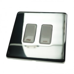 Eurolite Concealed Fix Flat Plate Polished Chrome 2 Gang 20amp DP Engraved Appliance Switch with White Insert