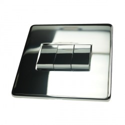 Eurolite Concealed Fix Flat Plate Polished Chrome 3 Gang 10amp 2way Switch with Matching Insert