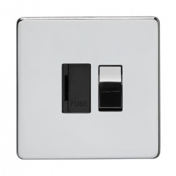 Eurolite Concealed Fix Flat Plate Polished Chrome 13amp Switched Fuse Spur with Matching Rocker and Black Insert