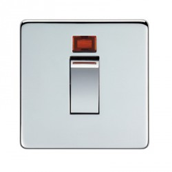 Eurolite Concealed Fix Flat Plate Polished Chrome 1 Gang 45amp DP Cooker Switch and Neon with Matching Insert