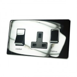 Eurolite Concealed Fix Flat Plate Polished Chrome 2 Gang 45amp DP Switch and Socket with Matching Rocker and Black Insert