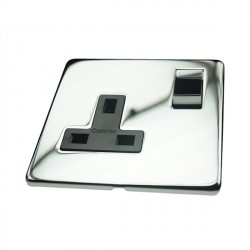 Eurolite Concealed Fix Flat Plate Polished Chrome 1 Gang 13amp DP Switched Socket with Matching Rocker and Black Insert