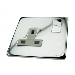 Eurolite Concealed Fix Flat Plate Polished Chrome 1 Gang 13amp DP Switched Socket with Matching Rocker and White Insert