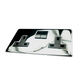 Eurolite Concealed Fix Flat Plate Polished Chrome 2 Gang 13amp DP Switched Socket with Matching Rocker and Black Insert