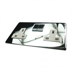Eurolite Concealed Fix Flat Plate Polished Chrome 2 Gang 13amp DP Switched Socket with Matching Rocker and White Insert